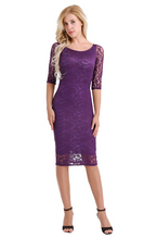 Load image into Gallery viewer, Purple Sleeves Cocktail Dress,Size (XS-30 to L-38)
