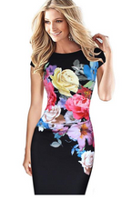 Load image into Gallery viewer, Flower Printed Short Sleeve O-Neck Party Dress