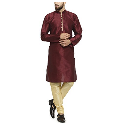 Maroon Kurta Cream Pyjami, Size (38 to 42)