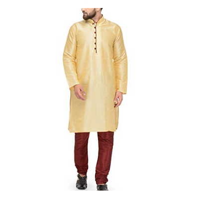 Cream Kurta Maroon Pyjami, Size (38 to 42)