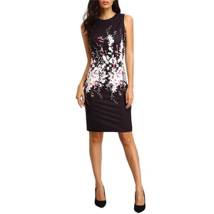 Sleeveless Floral Print Knee Length Party Dress,Size (XS-30 to L-38)