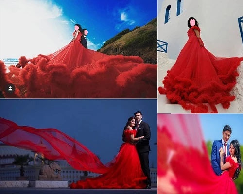 G137 (5), Luxury Red Puffy Cloud Trail Ball Gown,  Size - (XS-30 to XXL-42)