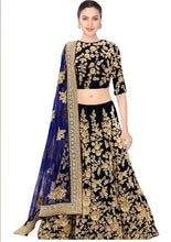 Load image into Gallery viewer, L21, Blue Embroidery Makhmali Silk Leheng, Size (XS-30 toXL-40 )