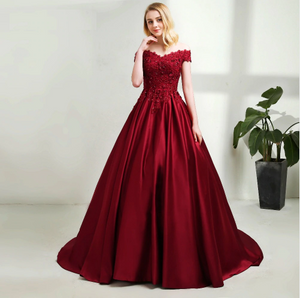 G130 t, Wine Satin Off Shoulder Trail Ball gown, Size (XS-30 to XL-40)