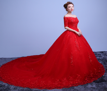 Load image into Gallery viewer, G129 (3), Red Off Shoulder half sleeves Trail Gown, Size (XS-30 to L-38)