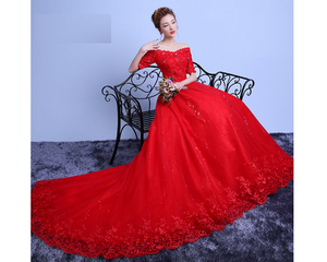 G139, Red Off Shoulder Trail Gown, Size (XS-30 to L-38)