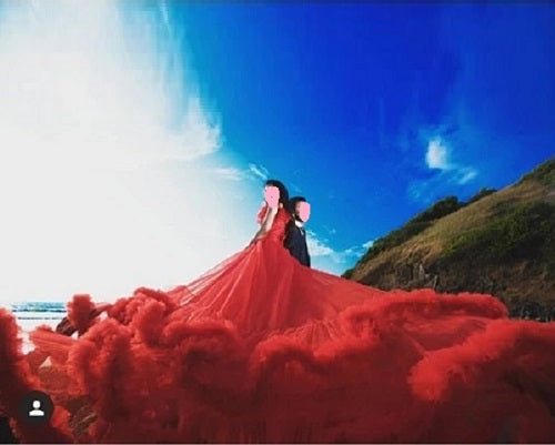 G137 (5), Luxury Red Puffy Cloud Trail Ball Gown, Size (XS-30 to xl 42)