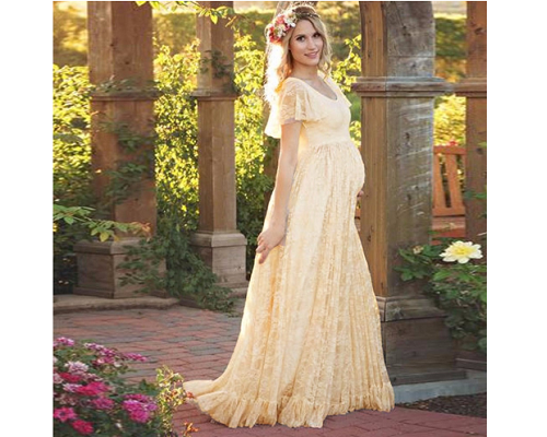 G83, Maternity Shoot Champagne Baby Shower Gown,  Size (XS-30 to XL-40)