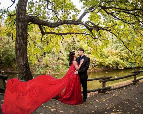 G127, Wine Prom Prewedding Shoot Trail Gown, Size (XS-30 to XL-40)