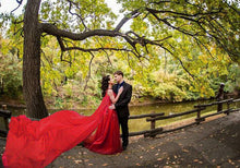 Load image into Gallery viewer, Wine Prom Prewedding Trail Gown, Size (XS-30 to XL-40)