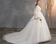 Load image into Gallery viewer, W177, White Flair Sleeves Long Trail Wedding Gown, Size (XS-30 to XL-40)