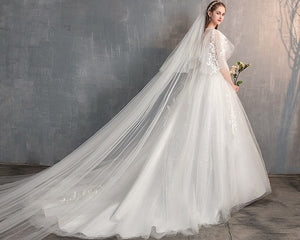 W177, White Flair Sleeves Long Trail Wedding Gown, Size (XS-30 to XL-40)