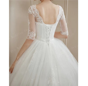 W155, White Long Trail Half Sleeves Ball Gown  Size (XS-30 to XXL-42)