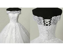 Load image into Gallery viewer, W175, White Off Shoulder Trail Ball Gown, Size (XS-30 to XL-40)