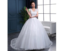Load image into Gallery viewer, W170, White Cap Sleeves Floral Trail Ball Gown, Size (XS-30 to XL-40)