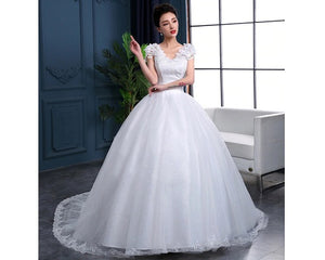 W170, White Cap Sleeves Floral Trail Ball Gown, Size (XS-30 to XL-40)