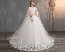 Load image into Gallery viewer, W174, White Lace Long Cap Sleeves Trail Ball Gown, Size (XS-30 to XXL-42)