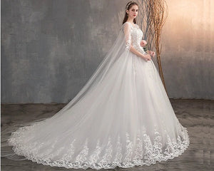 W174, White Lace Long Cap Sleeves Trail Ball Gown, Size (XS-30 to XXL-42)