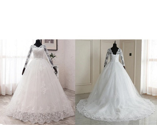 W172, White Lace Full Sleeves Prewedding Trail Ball Gown, Size (XS-30 to XL-40)