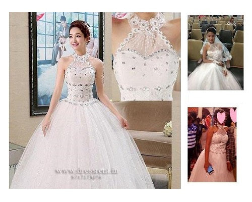 W163, White Ball Gown Halter Neck1, Size (XS-30 to L-36)