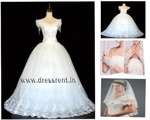 White Floral Ball Gown, Size (XS-30 to L-36), W8