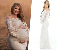 Load image into Gallery viewer, G308, White Os Full Sleeves Maternity Shoot Trail Baby Shower Gown, Size (XS-30 to XL-40)
