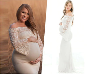 G308, White Os Full Sleeves Maternity Shoot Trail Baby Shower Gown, Size (XS-30 to XL-40)