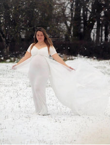 G152 (2), White Maternity Shoot Trail Baby Shower Gown, Size (XS-30 to L-38)