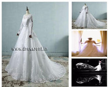 Load image into Gallery viewer, W161, White Sleeves Prewedding Shoot Trail Gown, Size (XS-30 to XL-40)