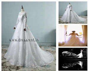 W161 (2),White Sleeves Prewedding Shoot Trail Gown, Size (XS-30 to XL-40)