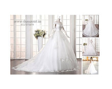 Load image into Gallery viewer, W164, White Slit Neckline Ball Gown, Size (XS-30 to XL-40)