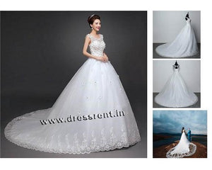 W157, White Flower Prewedding Shoot Trail Gown, Size (XS-30 to XL-40)