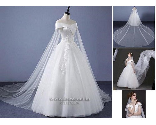 W151, White Off-Shoulder Veil Princess Trail Wedding Gown, Size (XS-30 to XL-40), Booking Status - Available