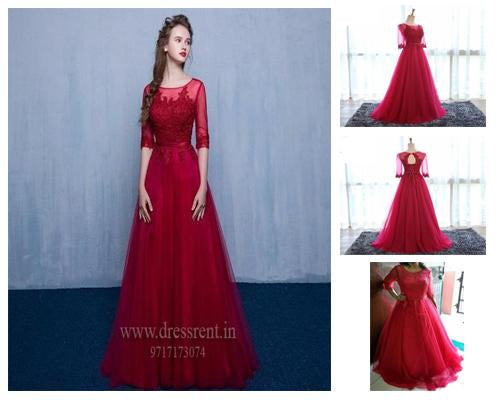 G183 (5), Wine half Sleeves Gown, Size (XS-30 to XL-40)