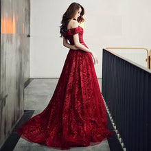 Load image into Gallery viewer, G336, Burgundy Evening Dress Elegant Shining Long Formal Gown, Size (XS-30 to L-38)