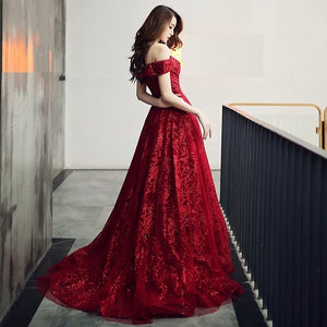 G336, Burgundy Evening Dress Elegant Shining Long Formal Gown, Size (XS-30 to L-38)