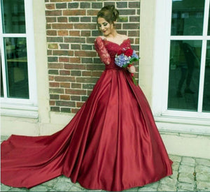 G229, Wine Satin Semi Off Shoulder Full Sleeves Prewedding Shoot Trail Ball Gown, Size (XS-30 to XXL-44)