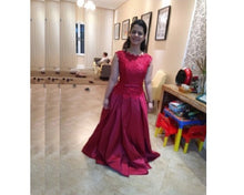 Load image into Gallery viewer, G801, Wine Satin Off Shoulder Lace Trail Ball Gown, Size (XS-30 to XL-40)