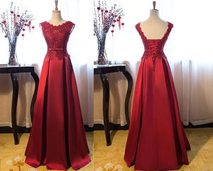 G801, Wine Satin Off Shoulder Lace Trail Ball Gown, Size (XS-30 to XL-40)