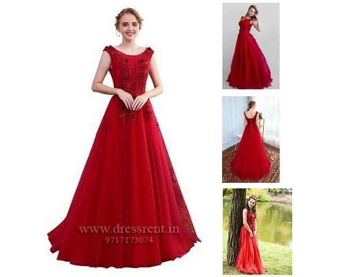 Wine Flower Prom Trail Gown, Size (XS-30 to XL-40)