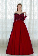 Load image into Gallery viewer, G227, Wine Satin Off Shoulder Trail Ball gown, Size (XS-30 to L-36)