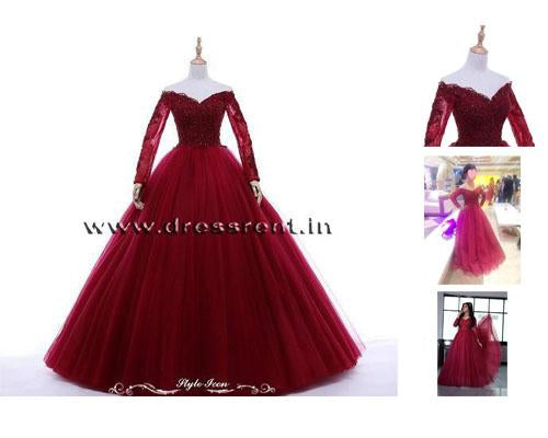 G135, Wine Ball Semi off Shoulder Gown, Size (XS-30 to XXL-44)
