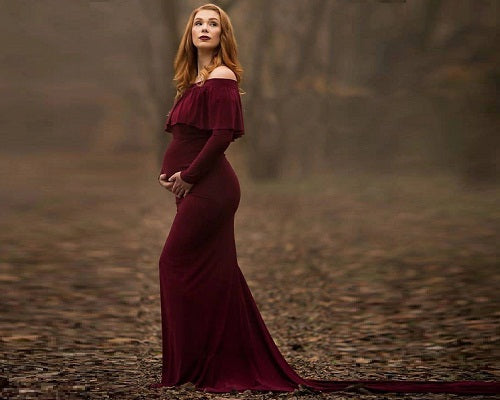 G242,  Dark Wine Off Shoulder Full Sleeves Maternity Shoot Trail Baby Shower Gown, Size (XS-30 to XL-40)