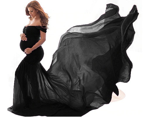 G220, Black Maternity Shoot Trail Baby Shower Gown, Size (XS-30 to XXL-42)