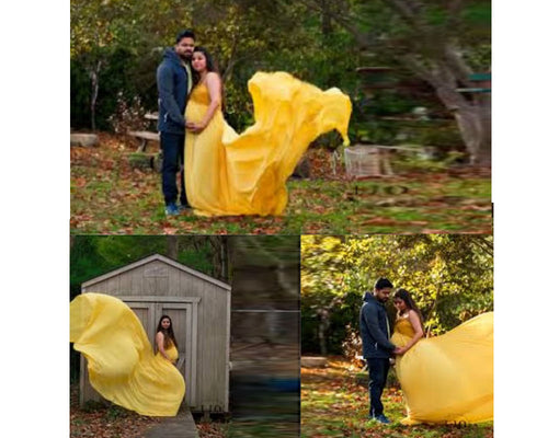 G178, Yellow Maternity Shoot Trail Baby Shower Gown, Size (XS-30 to XXL-42)