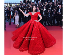 Load image into Gallery viewer, G121,  Luxury Red Carpet Red Off Shoulder Big Ball gown, Size (XS-30 to XL-40)