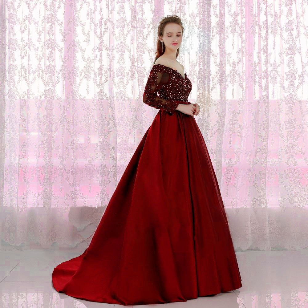 G227 (2), Wine Satin Off Shoulder Trail Ball gown, Size (XS-30 to L-40)