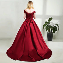 Load image into Gallery viewer, G130 (3+2), Wine Satin Off Shoulder Trail Ball gown, Size (XS-30 to XL-40)