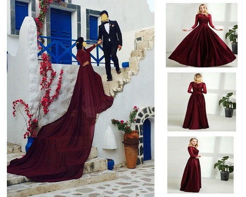 Prewedding shoot Wine Satin long trail Dress, Size (XS-30 to L-38)