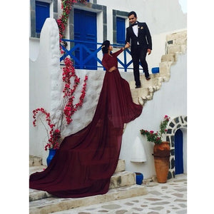 G92 (11), Dark Wine Satin Prewedding Shoot  trail Gown, Size (XS-30 to XXXL-46)